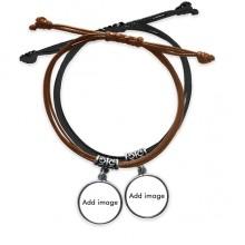Bracelet Double Leather Rope Wristband Couple Set