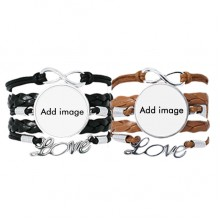 Bracelet Hand Strap Leather Rope Wristband Double Set