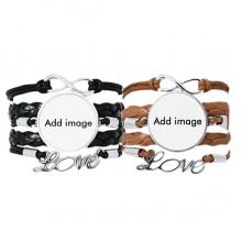 Bracelet Hand Strap Leather Rope Wristband Double Set