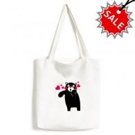 Kumamon Bear Cartoon Pattern High Quality Canvas Bag Environmentally Tote Large Gift Capacity Shopping Bags