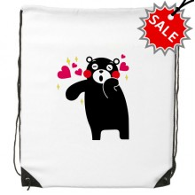 Kumamon Bear Illustration Pattern Backpack Fine Lines Shopping Handbag Shoulder Polyester Bag