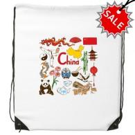 China Panda Landscape Customs Landmark Drawstring Backpack Fine Lines Shopping Handbag Shoulder Polyester Bag