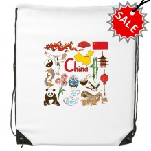 China Panda Landscape Customs Landmark Drawstring Backpack Fine Lines Shopping Handbag Shoulder Polyester Bag