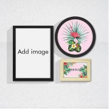 Watercolor Palm Leaf Flamingo Art Frame