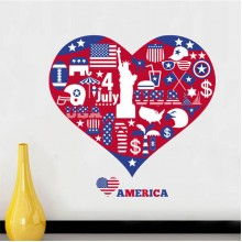 America Red Heart Love Pattern Illustration Removable Wall Sticker City Buildings Art Decals Mural DIY Wallpaper for Room Decal