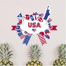 America Flag Landmark Statue Liberty Pattern Illustration Removable Wall Sticker City Buildings Art Decals Mural DIY Wallpaper for Room Decal