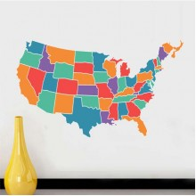 America State Map Pattern Illstration Removable Wall Sticker City Buildings Art Decals Mural DIY Wallpaper for Room Decal