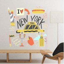 America New York Taxi Pattern Illustration Removable Wall Sticker City Buildings Art Decals Mural DIY Wallpaper for Room Decal