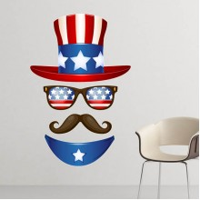 America Uncle Sam Pattern Illustration Removable Wall Sticker City Buildings Art Decals Mural DIY Wallpaper for Room Decal