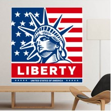 America Flag Liberty Statue Pattern Illustration Removable Wall Sticker City Buildings Art Decals Mural DIY Wallpaper for Room Decal