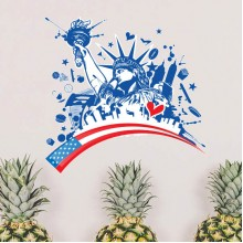 America Blue Statue of Liberty Pattern Illustration Removable Wall Sticker City Buildings Art Decals Mural DIY Wallpaper for Room Decal