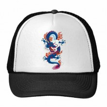 China Chinese Dragon Cloud Fire Traditional Culture Art Illustration Pattern Trucker Hat Baseball Cap Nylon Mesh Hat Cool Children Hat Adjustable Cap