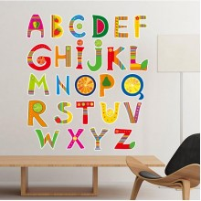 Alphabet Fruit Cute Interesting Funny Illustration Pattern Removable Wall Sticker Art Decals Mural DIY Wallpaper for Room Decal