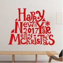 2017 Happy New Year Merry Christmas Sticker Removable Wall Sticker Art Decals Mural DIY Wallpaper for Room Decal