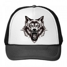 Fierce Howling Wolf Totem Pattern Ferocious Animal Trucker Hat