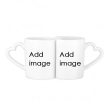 Love Couple Mugs Set White Pottery Ceramic Cup with Handles Gift