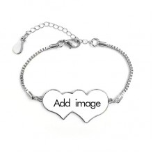 Double Hearts Metal Love Shape Cubic Chain Bracelet Bangle Gift