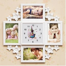 Flower photo frame clock