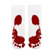 Blood Color Footprint Painting Style Pattern Cotton Socks