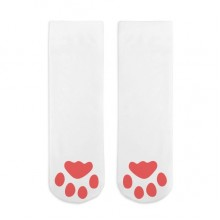 Pink Footprint Cat Step Pattern Cotton Socks