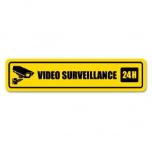 24h Video Surveillance Warning Decal Sticker