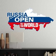 Russia Open To The World Flag Map Wall Sticker