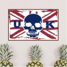Human Skeleton UK England Landmark Flag Mark Illustration Pattern Removable Wall Sticker City Buildings Art Decals Mural DIY Wallpaper for Room Decal