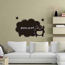 Cartoon Cat Chalkboard Decal Sticker Home Decoration