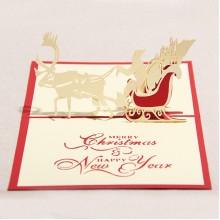 Santa's Sleigh stereo card
