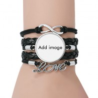 Bracelet Love Black Twisted Leather Rope Wristband
