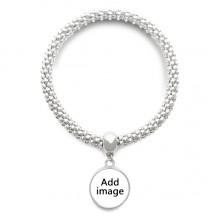 Sliver Bracelet Round Pendant Jewelry Chain