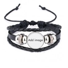 Bracelet Braided Leather Rope Bead Wristband