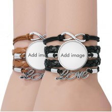 Bracelet Couple Leather Rope Wristband Gift