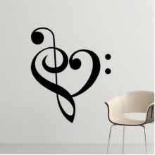 Music Lover Heart Shape Decals Note Removable Wall Sticker Art Decals Mural DIY Wallpaper for Room Decal