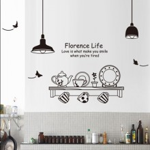 Creative Restaurant Removable Wall Sticker Art Decals Mural DIY Wallpaper for Room Decal