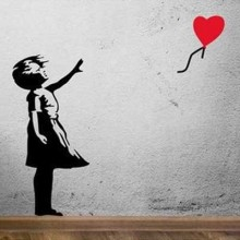 Banksy Balloon Girl Removable Wall Sticker Art Decals Mural DIY Wallpaper for Room Decal