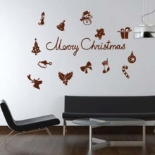 Christmas Elements Bell Snowflake Merry Christmas Removable Wall Sticker Art Decals Mural DIY Wallpaper for Room Decal