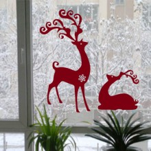 Christmas Elk Sticker Removable Wall Sticker Art Decals Mural DIY Wallpaper for Room Decal