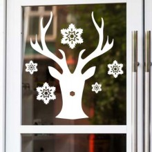 Christmas Deer Snowflake Sticker Removable Wall Sticker Art Decals Mural DIY Wallpaper for Room Decal