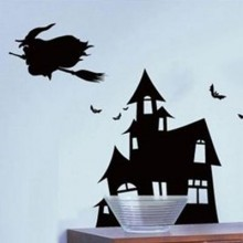 Halloween Bats Castle Witch Removable Wall Sticker Art Decals Mural DIY Wallpaper for Room Decal