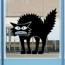 Frightened Cat Happy Halloween Removable Wall Sticker Art Decals Mural DIY Wallpaper for Room Decal