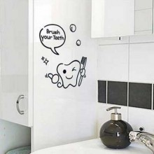 Brush Your Teeth Children Funny Cartoon Removable Wall Sticker City Buildings Art Decals Mural DIY Wallpaper for Room Decal