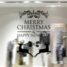 Christmas Deers Merry Christmas Happy New Year Sticker Removable Wall Sticker Art Decals Mural DIY Wallpaper for Room Decal