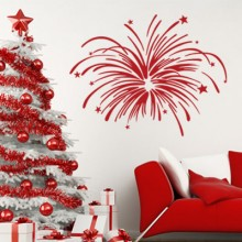 Brilliant Fireworks Christmas Tree Sticker Removable Wall Sticker Art Decals Mural DIY Wallpaper for Room Decal