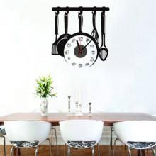 Kitchen Utensils Wall Sticker Clock