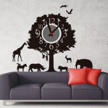 Animal park clock Removable Wall Sticker Art Decals Clock Mural DIY Wallpaper for Room Decal