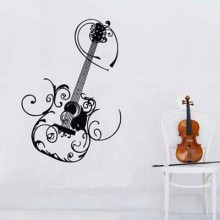 Flower Pattern Guitar Music Lover Removable Wall Sticker Art Decals Mural DIY Wallpaper for Room Decal