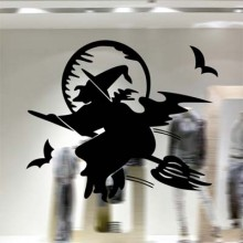 Flying Witch With Besom Removable Wall Sticker Art Decals Mural DIY Wallpaper for Room Decal