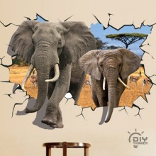 African Elephant Removable Wall Sticker Art Decals Mural DIY Wallpaper for Room Decal