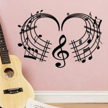 Love Heart Music Notes Treble Clef Staff Removable Wall Sticker Art Decals Mural DIY Wallpaper for Room Decal